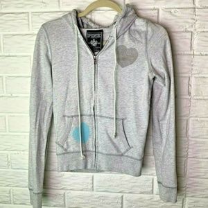 PINK Hoodie Size XS X-Small Gray Hearts Peace Sign